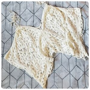 Free People Crocheted Crop Butterfly Pancho